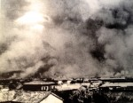 Fires raging after the blast.